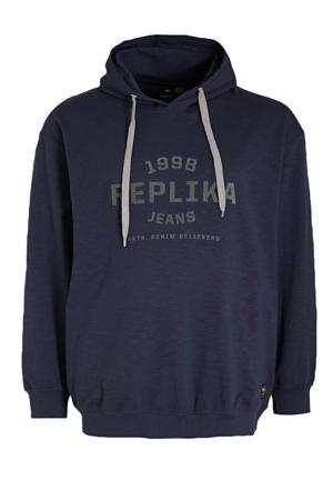 +size hoodie met logo blauw