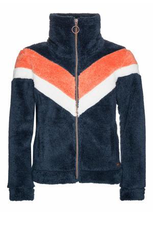 fleece vest Tess Jr. donkerblauw/oranje