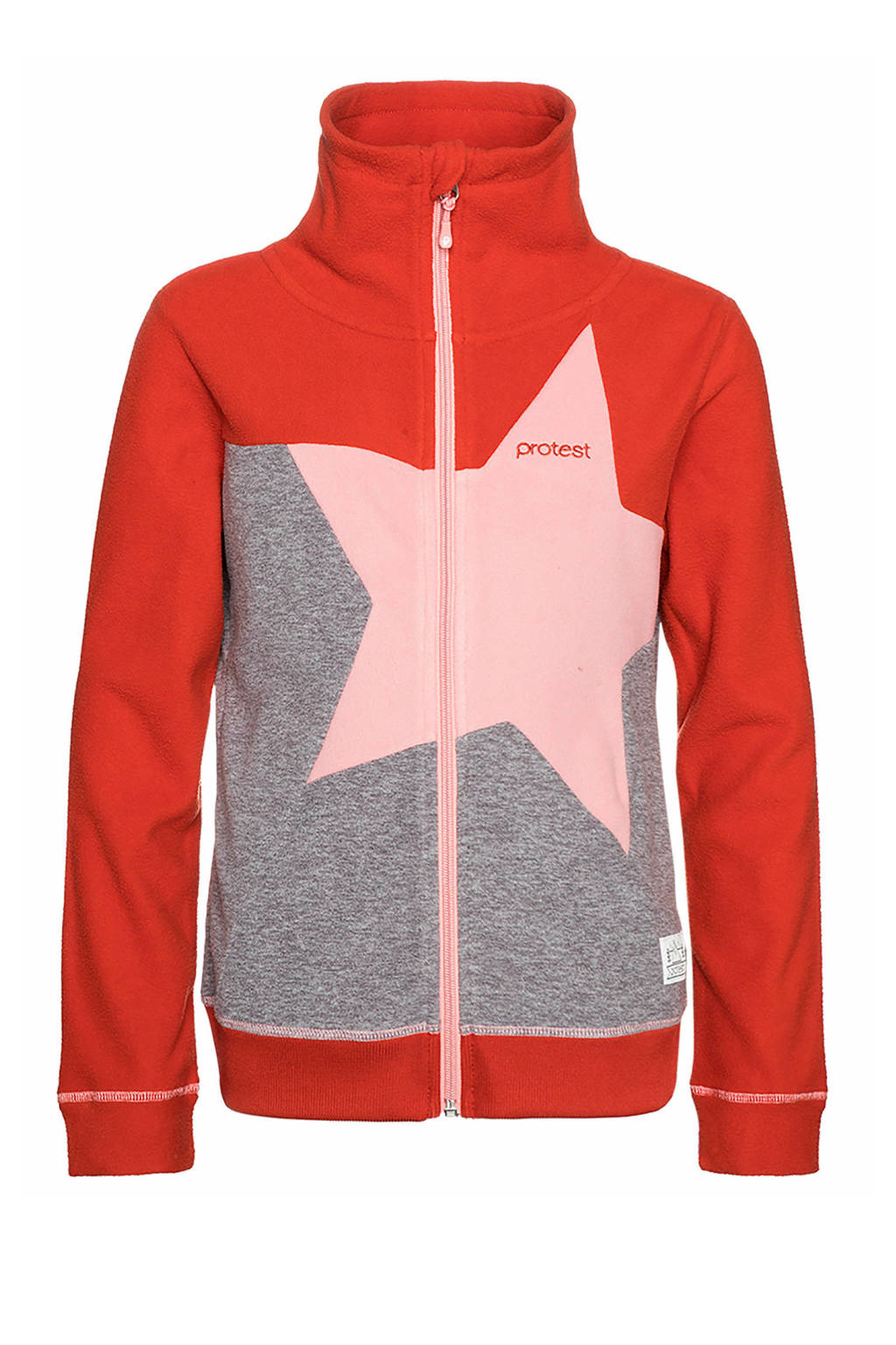 Protest fleece vest Bonita rood/grijs, DARK GREY MELEE