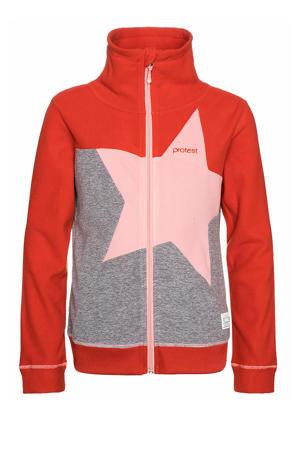fleece vest Bonita rood/grijs