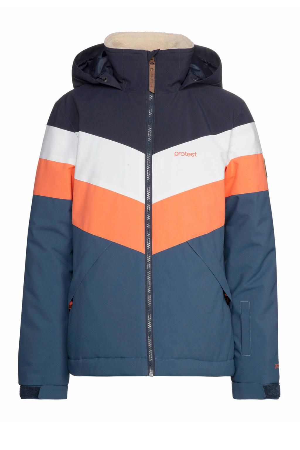 Protest ski-jack Fudge donkerblauw/oranje, Atlantic