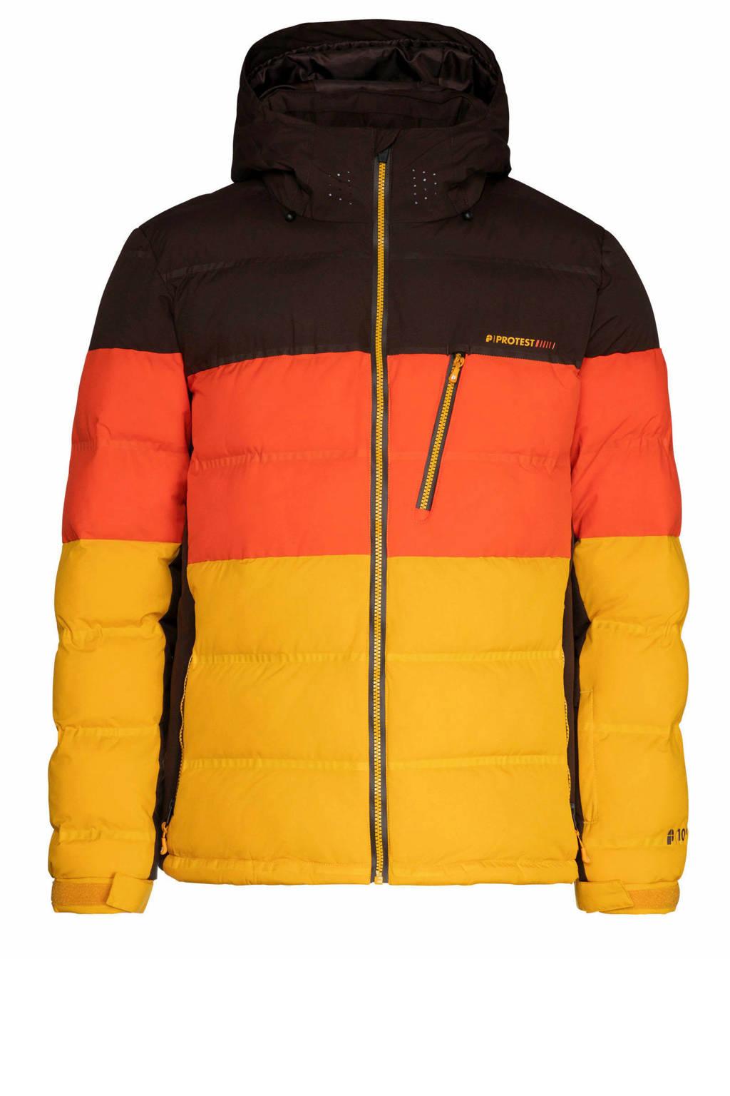 Protest Blur ski-jack zwart/oranje/geel, Dark yellow
