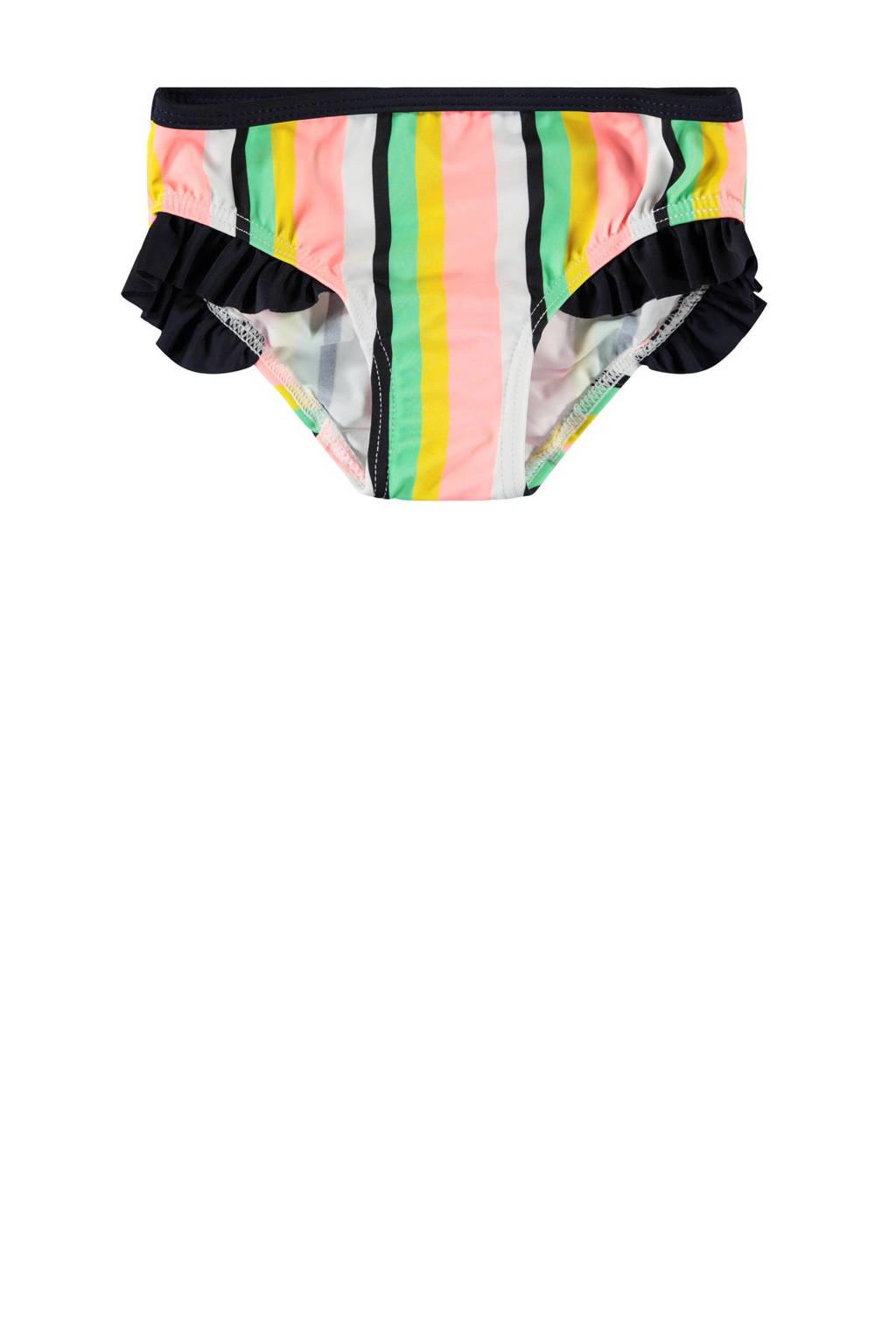 NAME IT MINI gestreept bikinibroekje Ztripe met ruches roze/wit/zwart, Roze/wit/zwart
