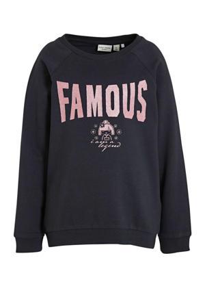 sweater Venus met tekst donkerblauw/roze