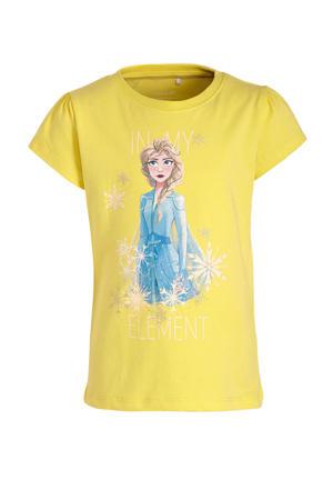 Frozen Sister Forever T-shirt met printopdruk en glitters limegroen/blauw