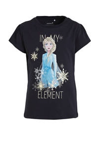 NAME IT MINI Frozen Sister Forever T-shirt Frozen met printopdruk en glitters donkerblauw, Donkerblauw
