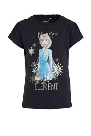 Frozen Sister Forever T-shirt Frozen met printopdruk en glitters donkerblauw