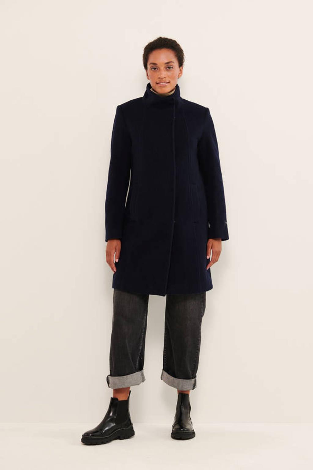Part Two coat IsabellasPW OTW met wol donkerblauw, Donkerblauw