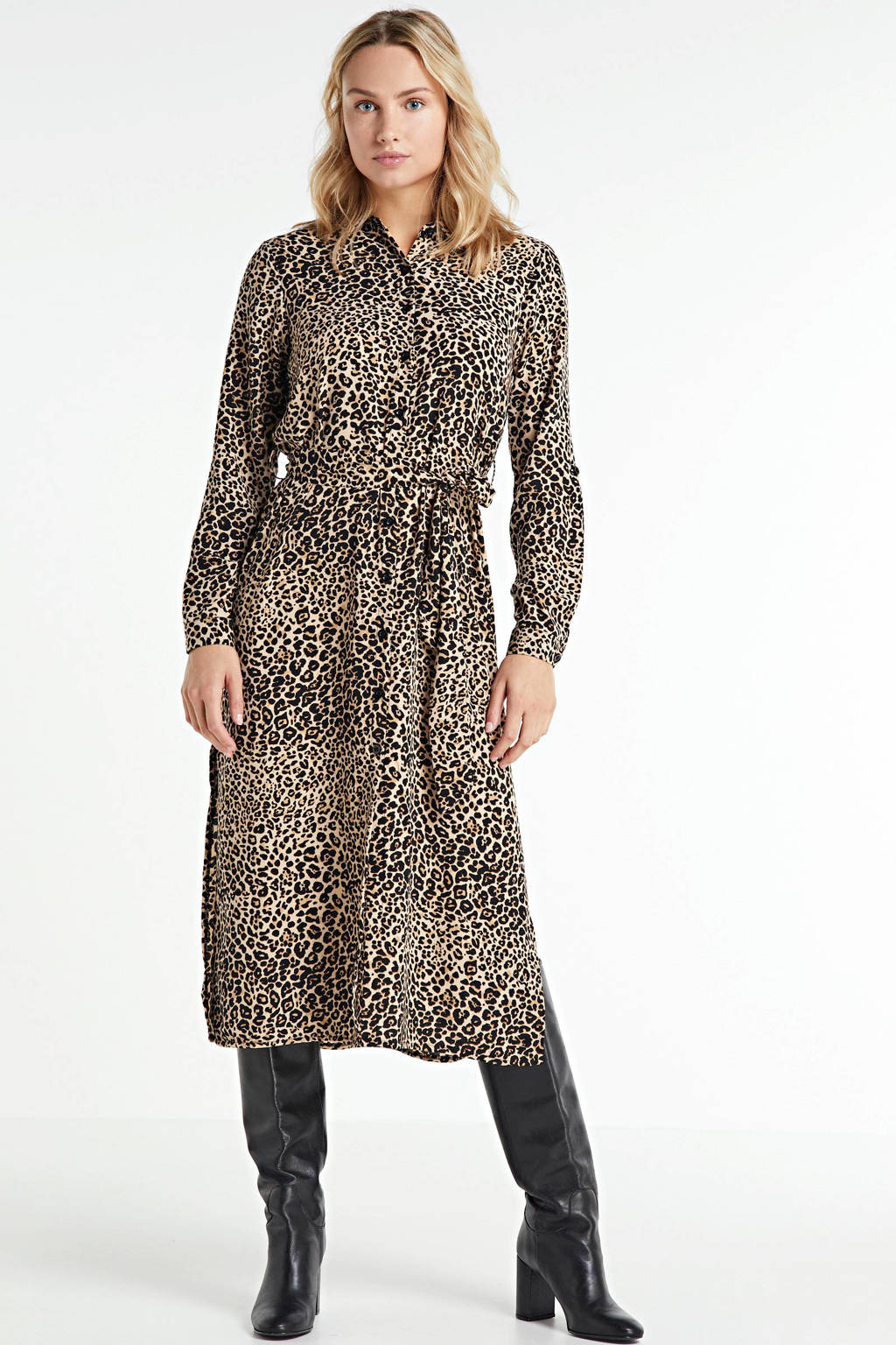 SisterS Point blousejurk met all over print bruin, Bruin