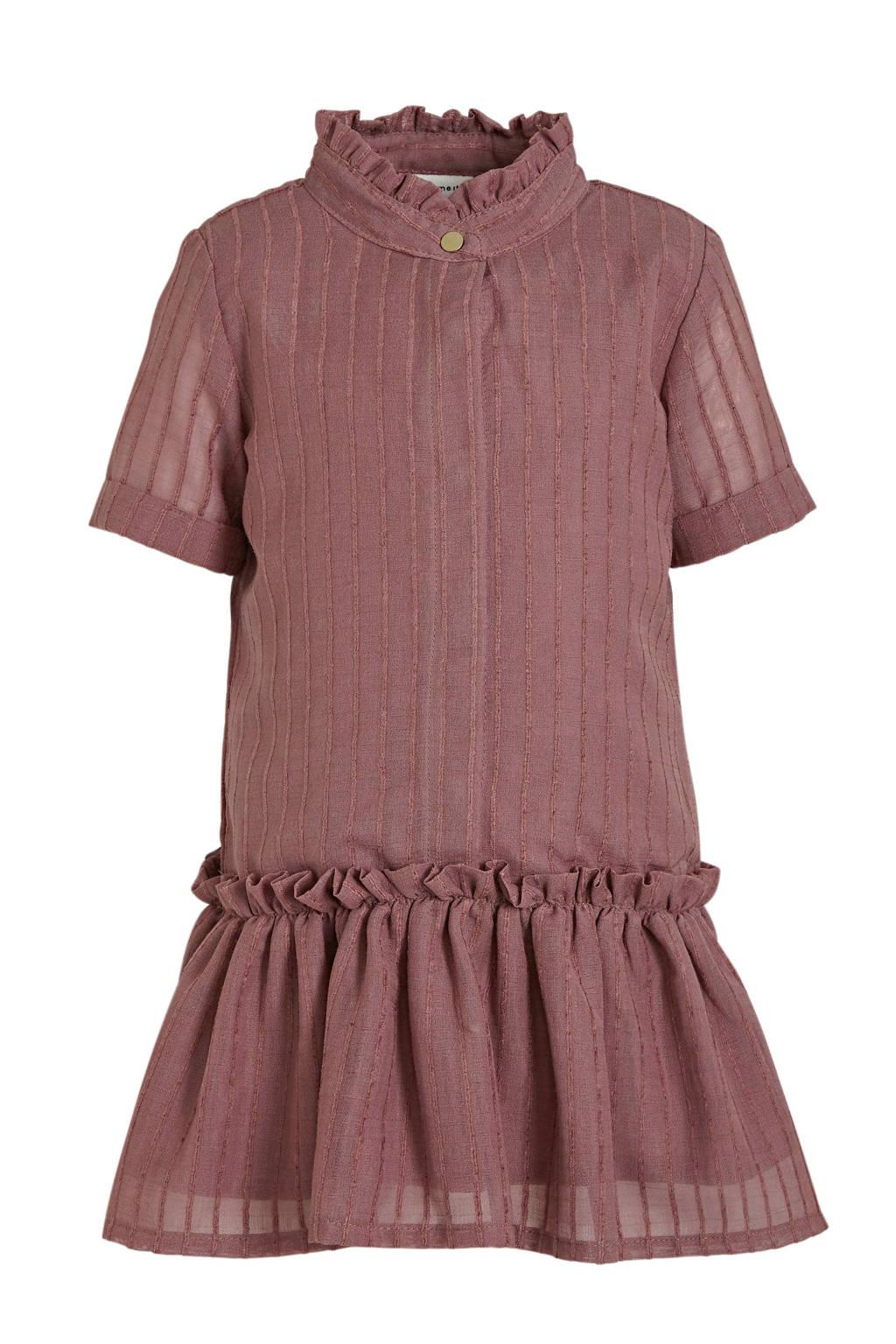 NAME IT MINI jurk Difona met ruches oudroze, Oudroze