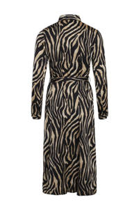 SisterS Point blousejurk met zebraprint en ceintuur zwart, Zwart