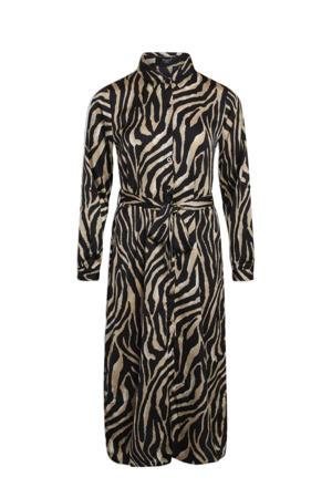 blousejurk met zebraprint en ceintuur zwart