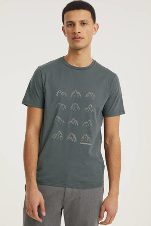 T-shirt Jaames many mountains met printopdruk acid black