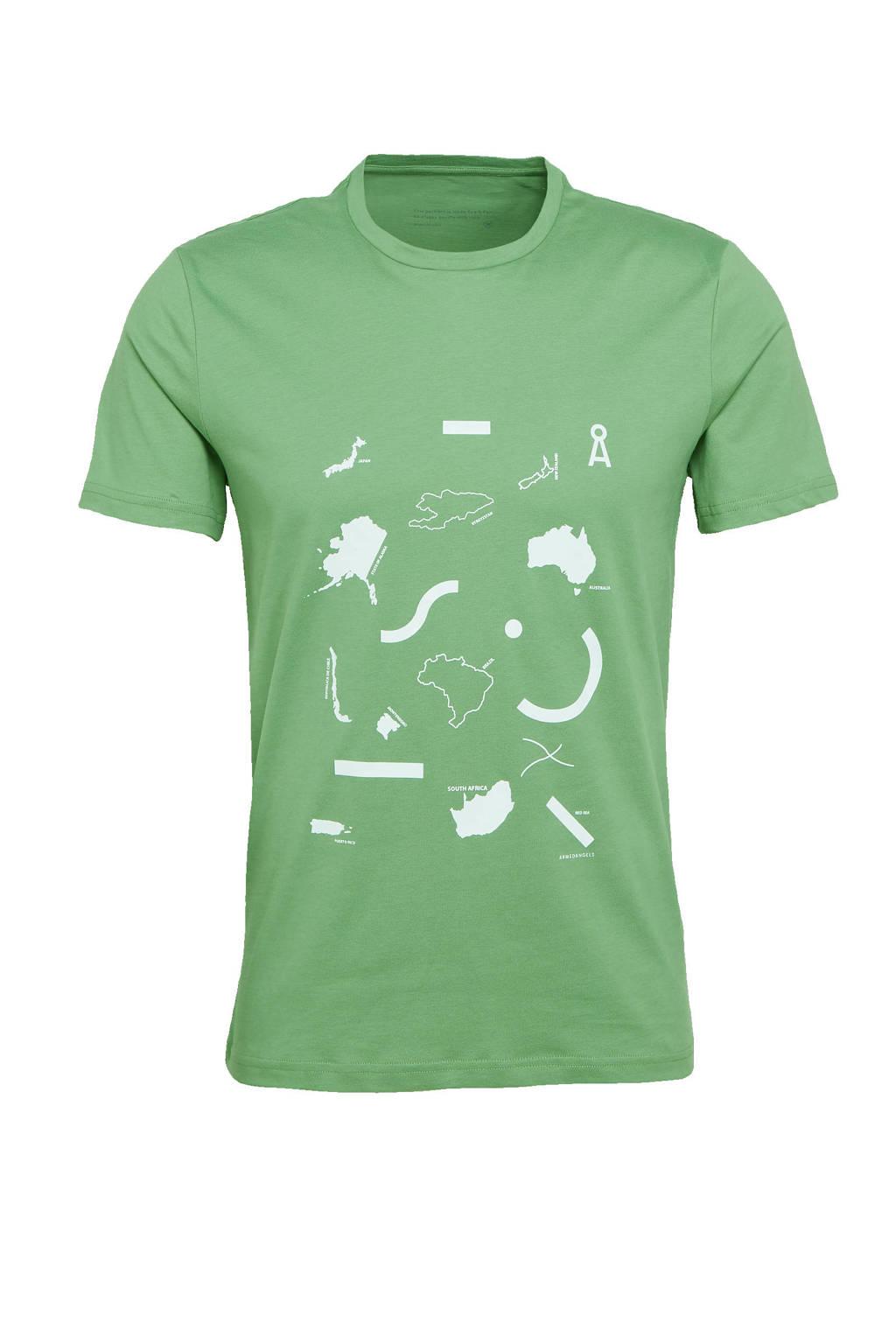 ARMEDANGELS T-shirt met printopdruk lichtgroen, Lichtgroen