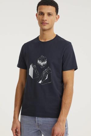 T-shirt Jaames collect met printopdruk donkerblauw