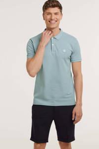 Knowledge Cotton Apparel regular fit polo Rowan GOTS/Vegan van biologisch katoen lichtblauw, Lichtblauw