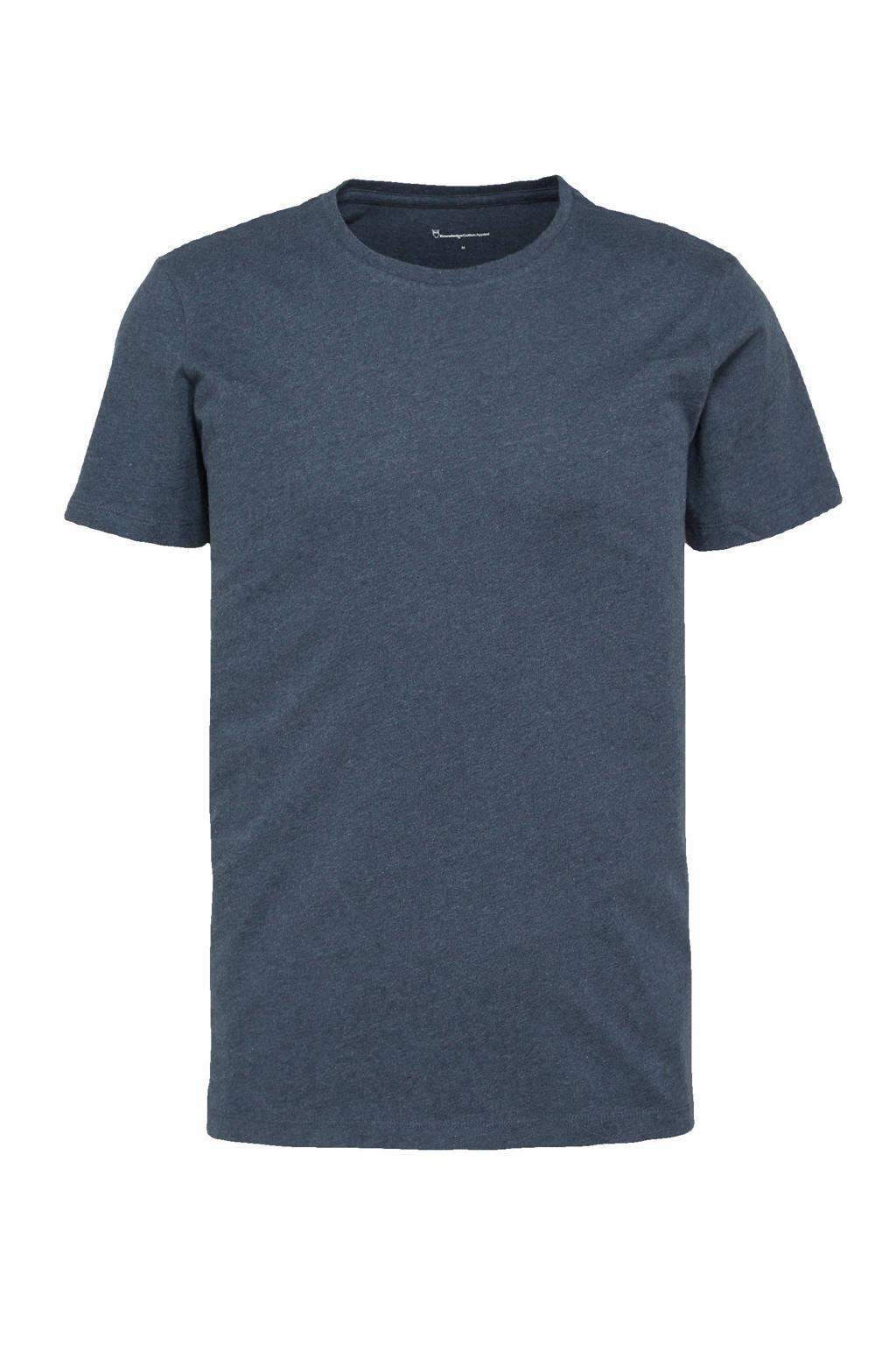 Knowledge Cotton Apparel T-shirt ALDER donkerblauw melange, Donkerblauw melange
