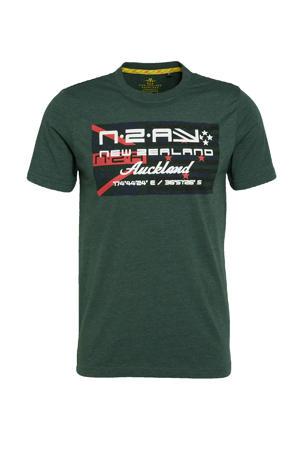 T-shirt Westport met logo donkergroen