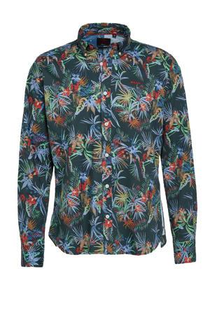 regular fit overhemd Wainuioru met all over print donkerblauw