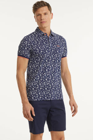 regular fit polo Benmore met all over print donkerblauw