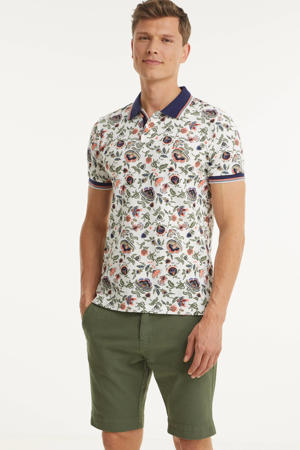 regular fit polo Te Matahi met all over print wit/roze/blauw