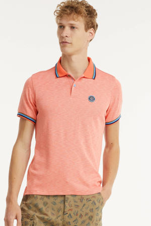 gemêleerde regular fit polo Severn met contrastbies orange pepper