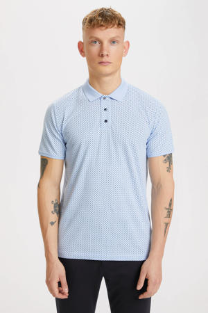 slim fit polo met all over print lichtblauw