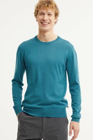 fijngebreide trui MAleon met wol turquoise