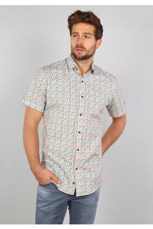 regular fit overhemd met all over print groen/oranje