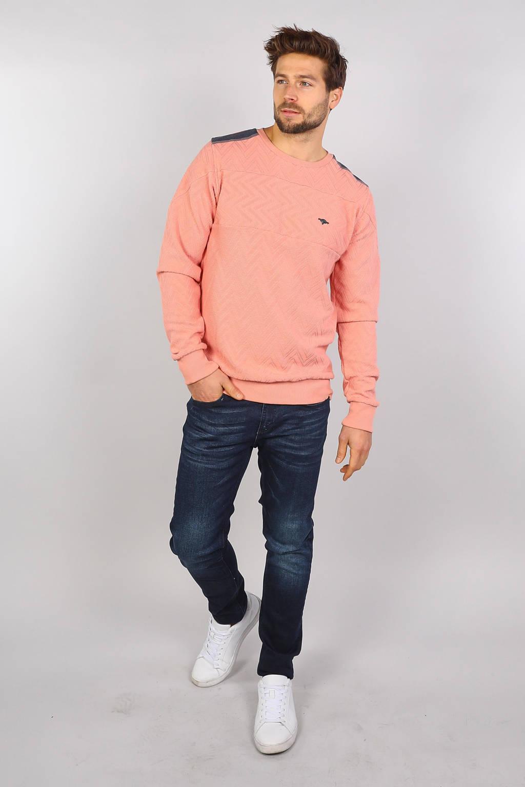 GABBIANO sweater met textuur zalmroze, Zalmroze