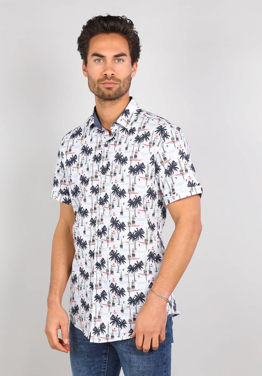 GABBIANO regular fit overhemd met all over print wit, Wit