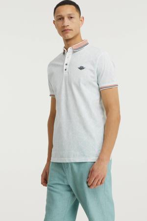 regular fit polo met contrastbies lichtblauw