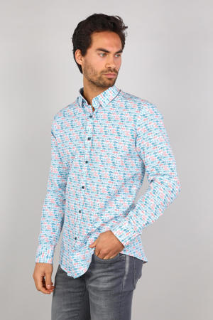 slim fit overhemd met all over print turquoise/roze