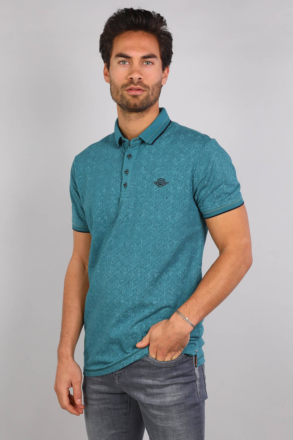 GABBIANO regular fit polo met contrastbies turquoise, Turquoise