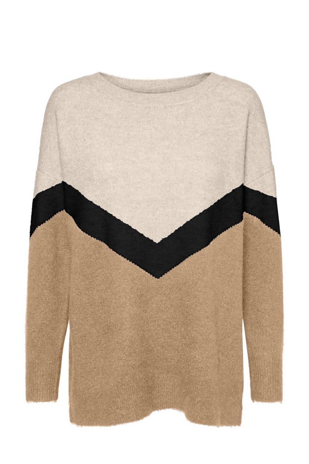 VERO MODA trui beige/zwart, Beige/zwart