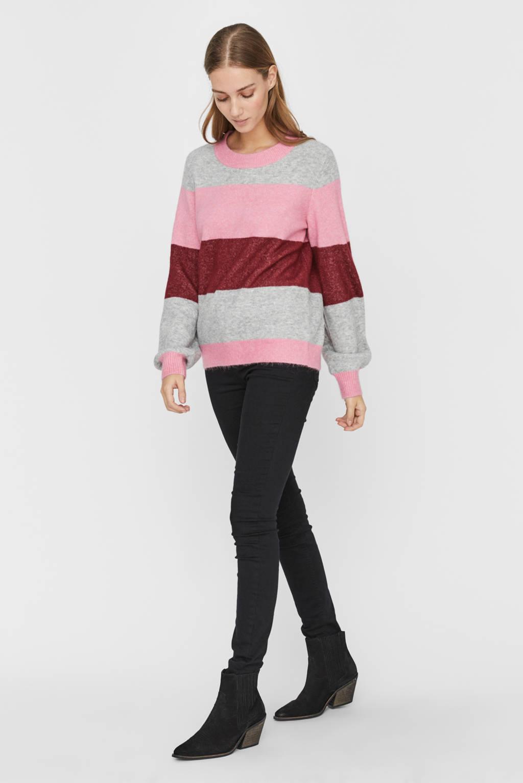 VERO MODA trui roze/rood/grijs, Roze/rood/grijs