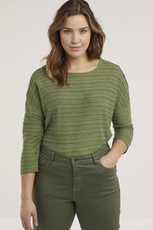 cropped slim fit broek Yuki olijfgroen