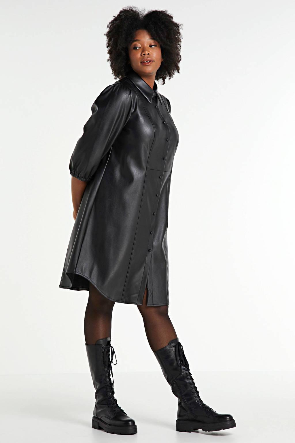 Zizzi coated blousejurk Jalen zwart, Zwart