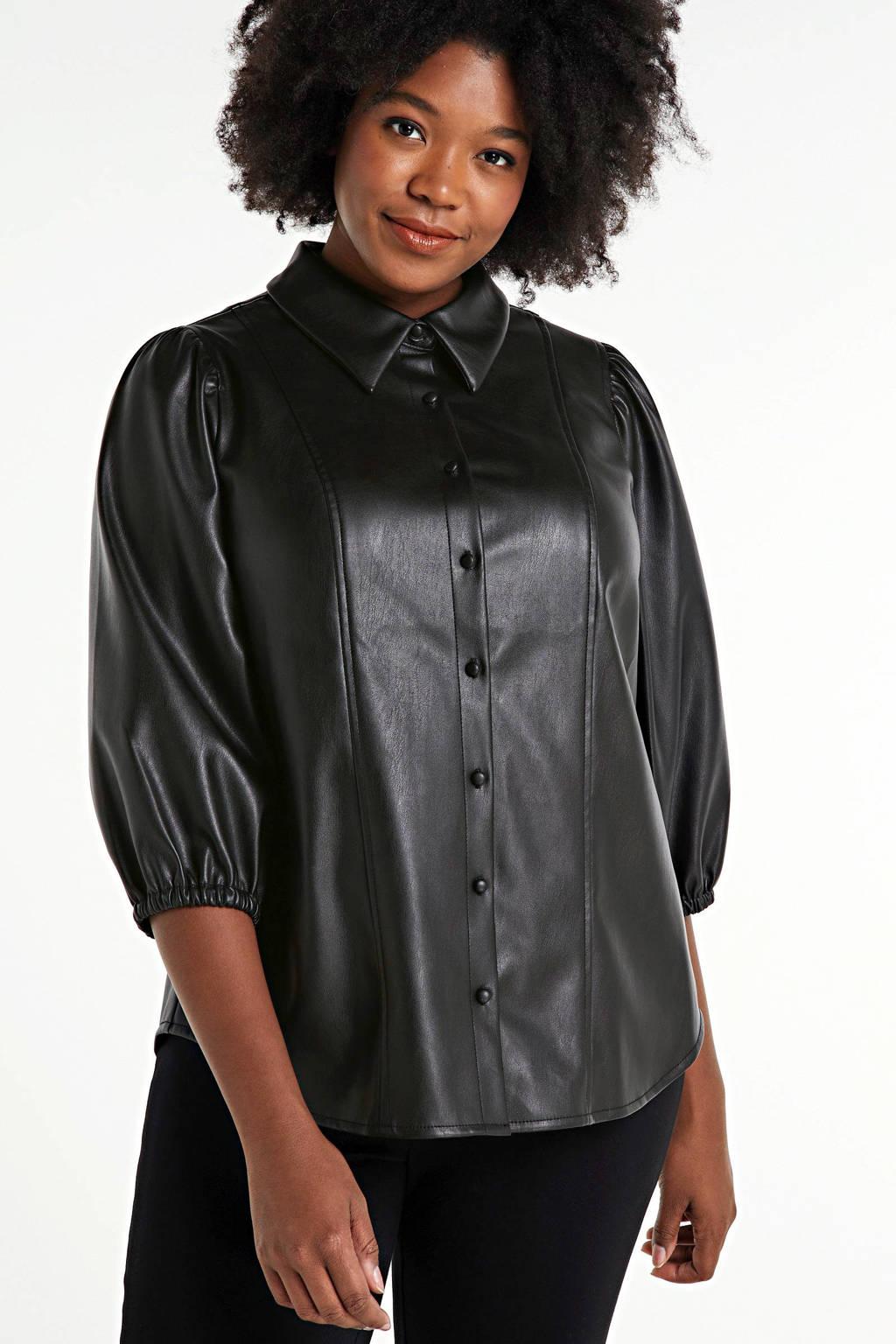 Zizzi coated blouse Jalen zwart, Zwart