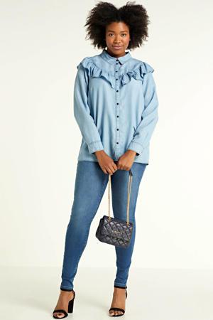 blouse Mille met volant lichtblauw