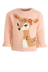 C&A fijngebreide trui met dierenprint roze, Roze