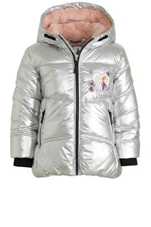 gewatteerde winterjas met printopdruk zilver