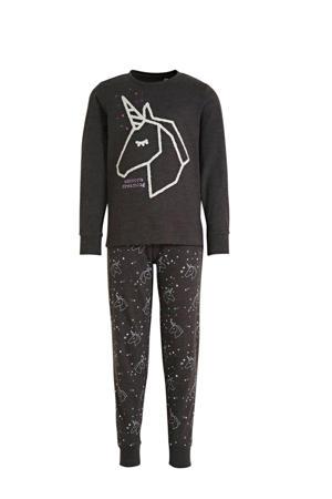 pyjama antraciet/wit/paars