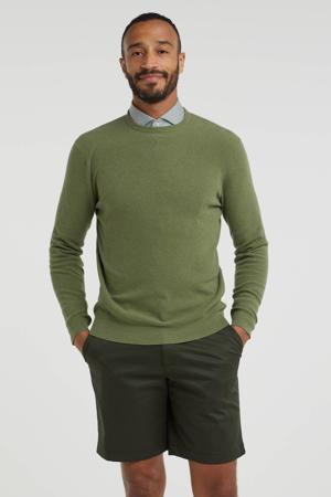 fijngebreide trui van biologisch katoen groen