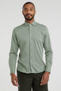 Profuomo fijngebreid slim fit overhemd groen, Groen