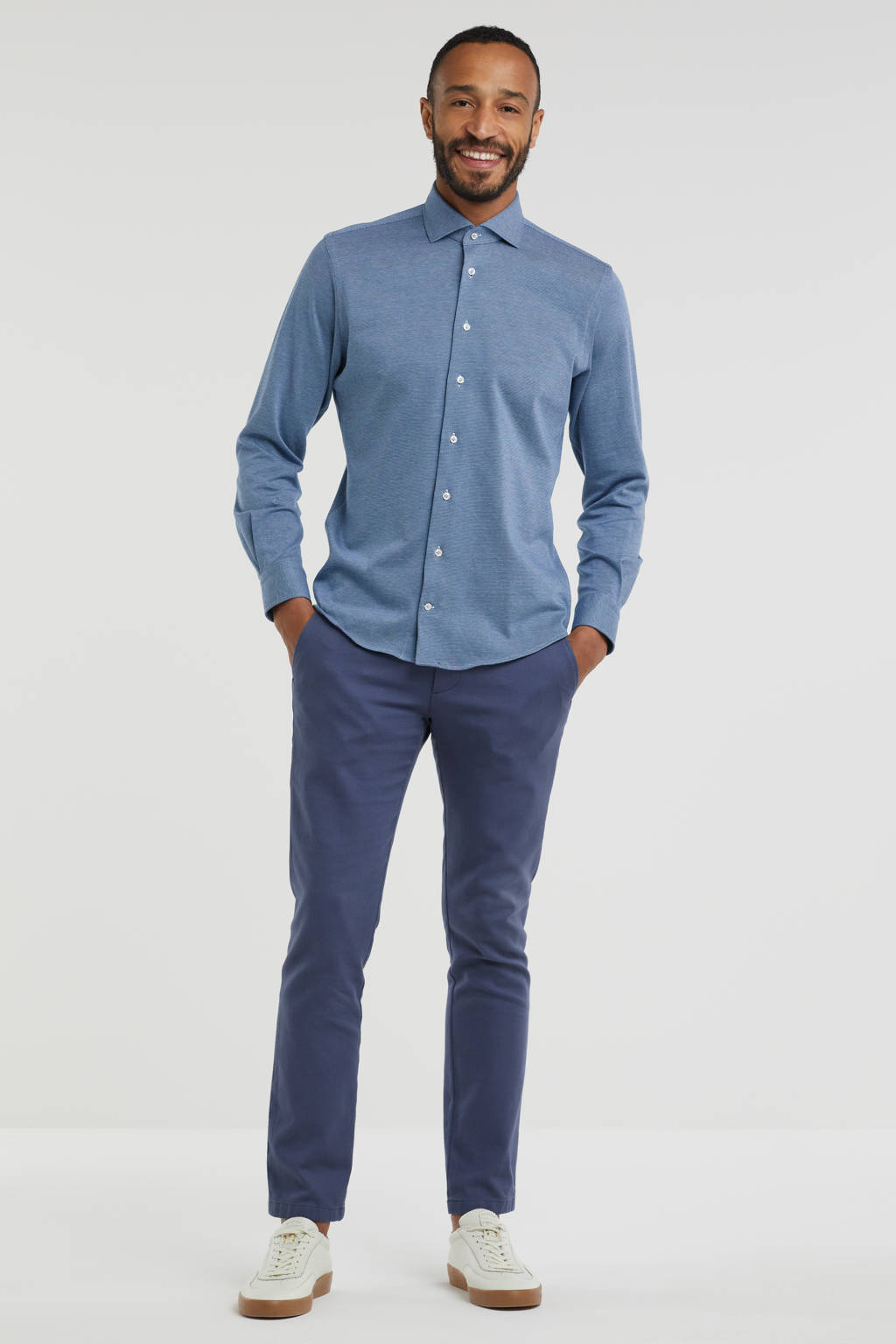 Profuomo fijngebreid slim fit overhemd donkerblauw, Donkerblauw