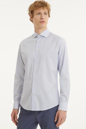 gestreept slim fit overhemd lichtblauw/wit