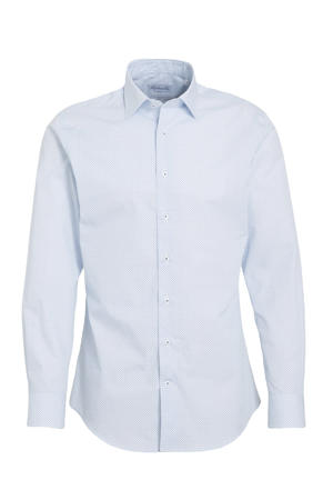 slim fit overhemd Kent met all over print lichtblauw