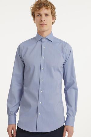 gemêleerd slim fit overhemd met mouwlengte 7 blauw