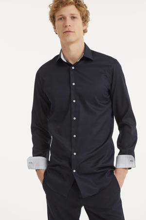 slim fit overhemd met mouwlengte 7 donkerblauw
